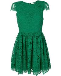 grünes besticktes gerade geschnittenes Kleid aus Spitze von Alice + Olivia