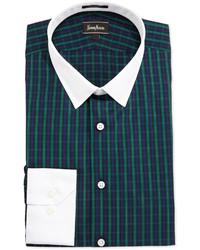 grünes Businesshemd mit Schottenmuster