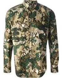 grünes Camouflage Langarmhemd