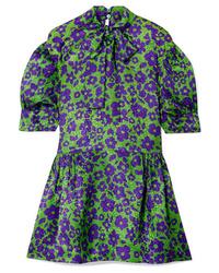 grünes gerade geschnittenes Kleid aus Seide mit Blumenmuster von Miu Miu