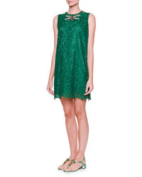grünes gerade geschnittenes Kleid aus Spitze