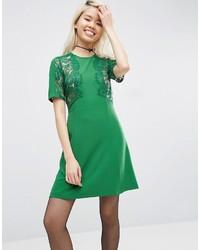 grünes gerade geschnittenes Kleid aus Spitze von Asos
