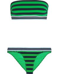 grünes horizontal gestreiftes Bikinioberteil von Stella McCartney