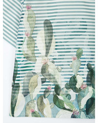 grünes horizontal gestreiftes T-shirt von Il Gufo