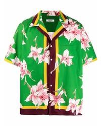 grünes Kurzarmhemd mit Blumenmuster von Valentino