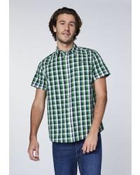 grünes Kurzarmhemd mit Karomuster von OKLAHOMA JEANS