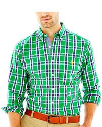 grünes Langarmhemd mit Schottenmuster