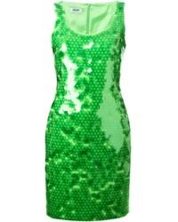 grünes Pailletten Etuikleid von Moschino Cheap & Chic
