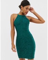 grünes Spitze figurbetontes Kleid von Paper Dolls