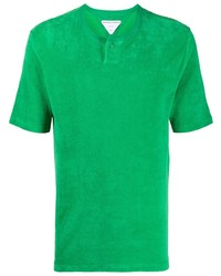 grünes T-shirt mit einer Knopfleiste von Bottega Veneta