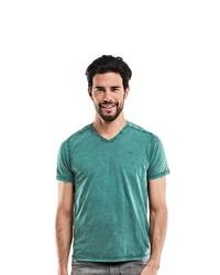 99b6729a870d Modische grünes T-Shirt mit einem V-Ausschnitt für Herren für Winter ...
