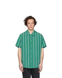 grünes vertikal gestreiftes Kurzarmhemd von Goodfight