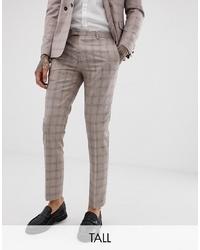 hellbeige Anzughose mit Karomuster von Twisted Tailor