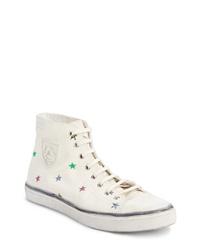 hellbeige bedruckte hohe Sneakers aus Segeltuch