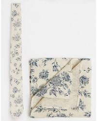 hellbeige bedruckte Krawatte von Asos