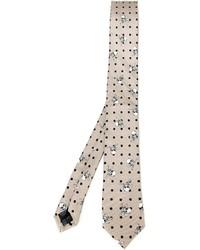 hellbeige bedruckte Krawatte von Dolce & Gabbana