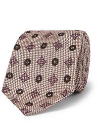 hellbeige bedruckte Krawatte von Rubinacci