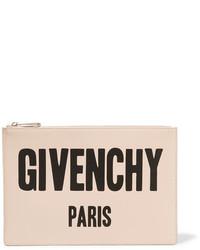 Hellbeige bedruckte Leder Clutch von Givenchy