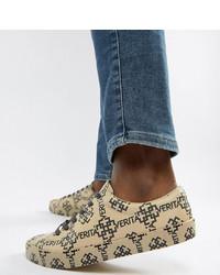 hellbeige bedruckte Leder niedrige Sneakers