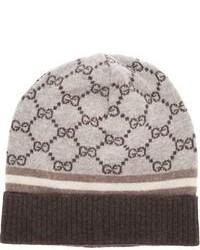 hellbeige bedruckte Mütze von Gucci