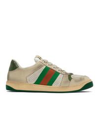 hellbeige bedruckte niedrige Sneakers von Gucci