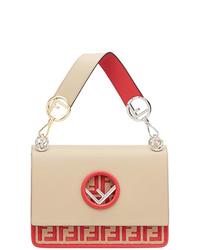 hellbeige bedruckte Satchel-Tasche aus Leder von Fendi
