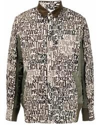 hellbeige bedruckte Shirtjacke von Sacai