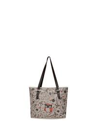 hellbeige bedruckte Shopper Tasche aus Leder von DOGO