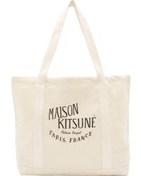 hellbeige bedruckte Shopper Tasche aus Segeltuch