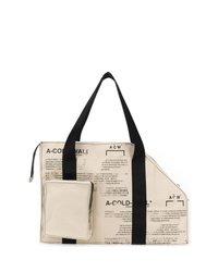 hellbeige bedruckte Shopper Tasche aus Segeltuch von A-Cold-Wall*