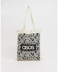 hellbeige bedruckte Shopper Tasche aus Segeltuch von ASOS DESIGN