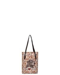 hellbeige bedruckte Shopper Tasche aus Segeltuch von DOGO