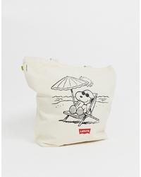 hellbeige bedruckte Shopper Tasche aus Segeltuch von Levi's