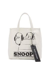 hellbeige bedruckte Shopper Tasche aus Segeltuch von Marc Jacobs