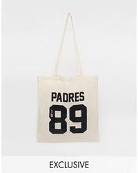 hellbeige bedruckte Shopper Tasche aus Segeltuch von Reclaimed Vintage