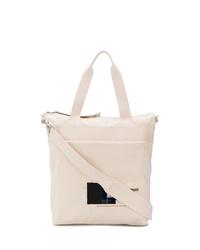 hellbeige bedruckte Shopper Tasche aus Segeltuch von Rick Owens DRKSHDW
