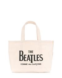 hellbeige bedruckte Shopper Tasche aus Segeltuch von The Beatles X Comme Des Garçons
