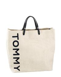 hellbeige bedruckte Shopper Tasche aus Segeltuch von Tommy Hilfiger
