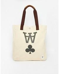 hellbeige bedruckte Shopper Tasche aus Segeltuch von Wood Wood