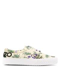 hellbeige bedruckte Slip-On Sneakers aus Leder von Kenzo