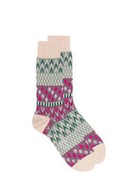 hellbeige bedruckte Socke