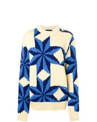 hellbeige bedruckter Oversize Pullover von Calvin Klein 205W39nyc