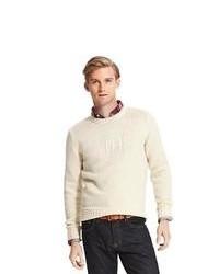 hellbeige bedruckter Pullover mit einem Rundhalsausschnitt