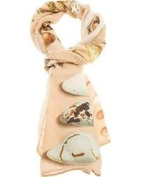 hellbeige bedruckter Schal