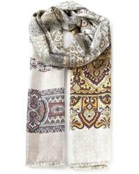 hellbeige bedruckter Schal von Pierre Louis Mascia