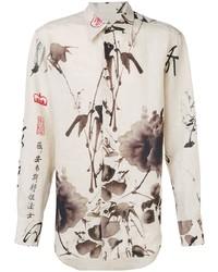 hellbeige bedrucktes Businesshemd von Vivienne Westwood