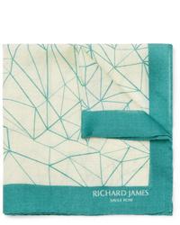 hellbeige bedrucktes Einstecktuch von Richard James