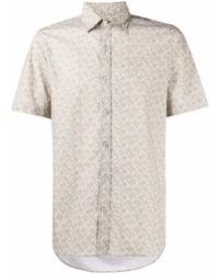 hellbeige bedrucktes Kurzarmhemd von Canali