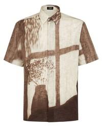 hellbeige bedrucktes Kurzarmhemd von Fendi