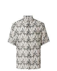 hellbeige bedrucktes Kurzarmhemd von Versace Collection